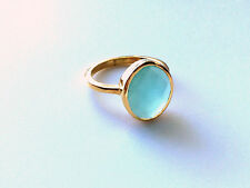 AQUA Chalcedony RING Oval Gold Stackable Ring Faceted Vermeil Gold Ring Size 6