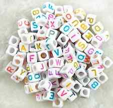 100Pcs 6mm  Acrylic White Mixed Color Alphabet Letter Coin Square Flat Beads