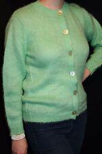 S~M Mint Green Mohair Wool Vtg 50s Rockabilly GARLAND Cardigan Sweater Top