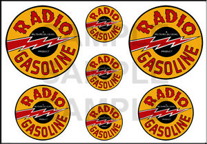 1 1/2 3/4 INCH RADIO GASOLINE MODEL GAS STATION BUILDING SIGN DECALS STICKERS Y
