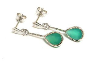 9ct Gold Green Agate Drop earrings Made in UK Gift Boxed Gift