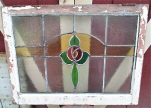 Antique Primitive Victorian French Home Stained Glass
