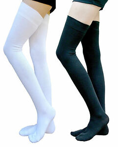 d066800f2ee AM Landen Cotton Thigh Highs Socks Over Knee Socks(Black +White 2 ...