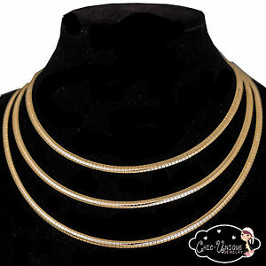New-Essential-4mm-Gold-Omega-Choker-Necklace-Chain-16-034-18-034-20-034-CO246