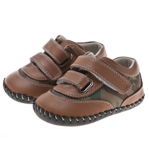 Boys Childrens Toddler Trainer REAL Leather//Suede Soft Sole Shoes Tan//Camouflage