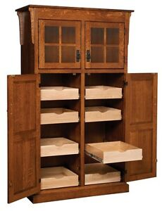 Amish Mission Rustic Kitchen Pantry Storage Cupboard Roll Shelf Heritage Wood