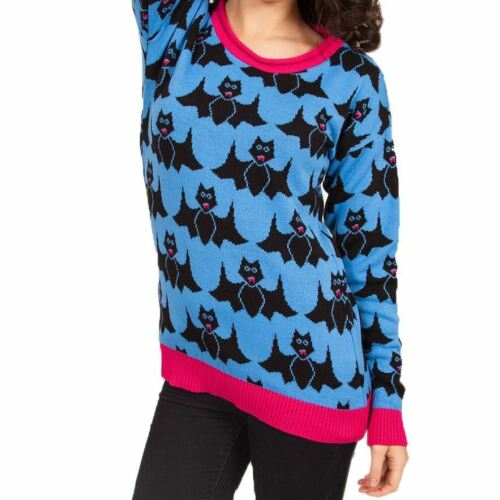 Flip Flop /& Fangs Cartoon Bats Blue /& Pink Trim Knitted Jumper