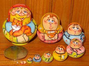 Russian-tiny-nesting-dolls-Miniature-Matryoshka-DAD-amp-Cat-family-10-MATT-signed