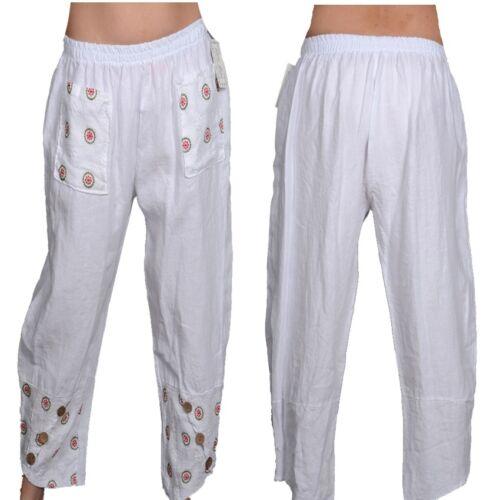 Donna Pantalone Lino Estate Harem Pantaloni Pump 36 38 40 42 S M L Bianco Spiaggia Capri Top