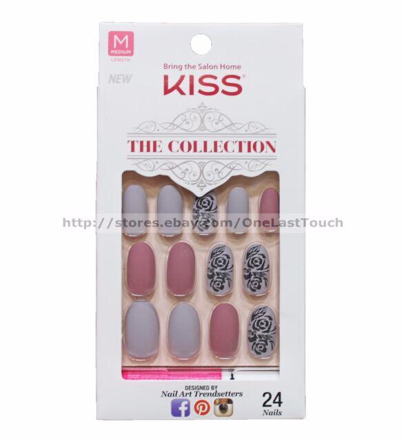 Kiss 24 Glue/press-on Nail Matte Beige Mauve Flower Collection ...