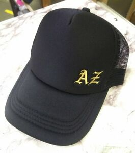 KIDS Personalised NAME INITIAL Embroidery On Black Mesh Trucker Hat Cap Gift