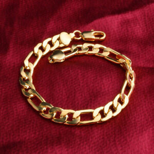 Men-Women-18K-8MM-Gold-Plated-Chain-Wedding-Chunky-Bracelet-Bangle-Jewelry