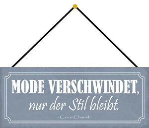 Fashion Disappears - Style Bleibt Shield with Cord Tin Sign 10 X 27 CM K0686-K