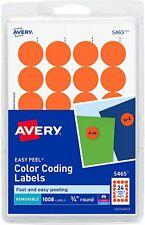 1008 Removable Labels Avery 5465 Orange 34 Round Garage Sale Price Tag Sticker