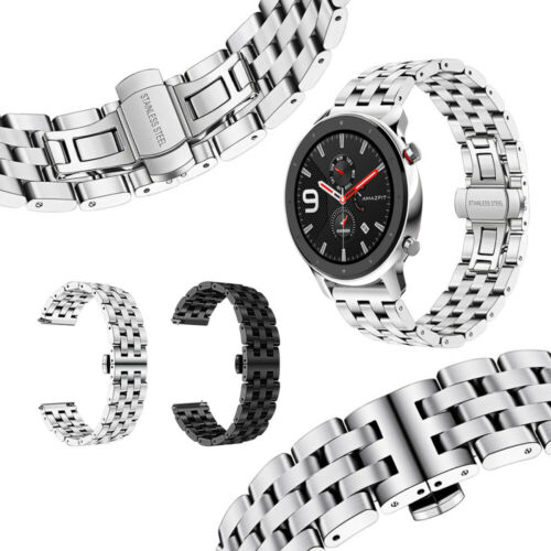 For Huami Amazfit GTR 47MM Five Beads Stainless Steel Butterfly Buckle Strap