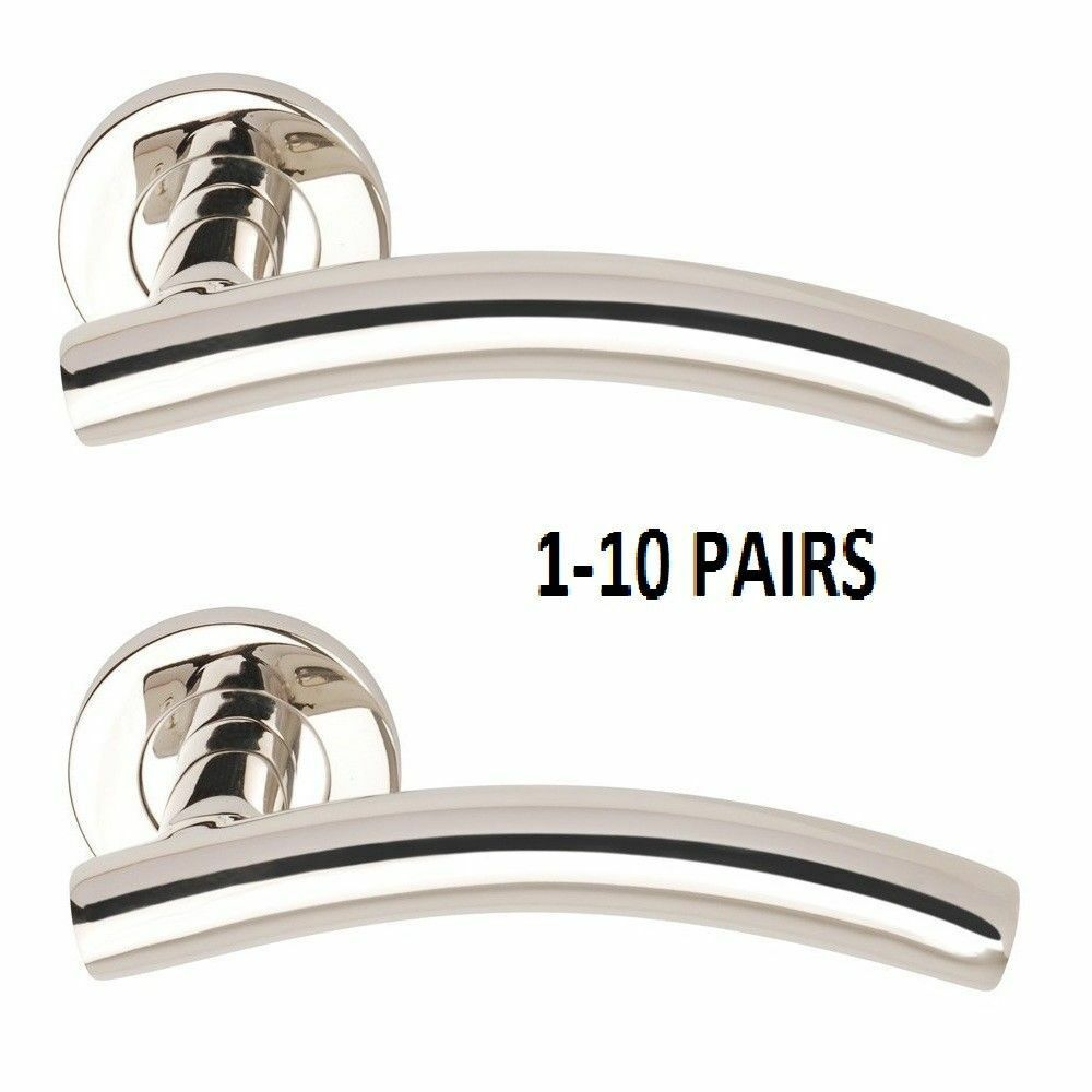 Arched Lever on Rose INTERNAL DOOR HANDLES SETS OF 1 -10 POLISHED CHROME D19