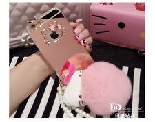 Mirror Bling Diamond Plush Ball Hello Kitty Pearl Strap Soft Acrylic Case Cover