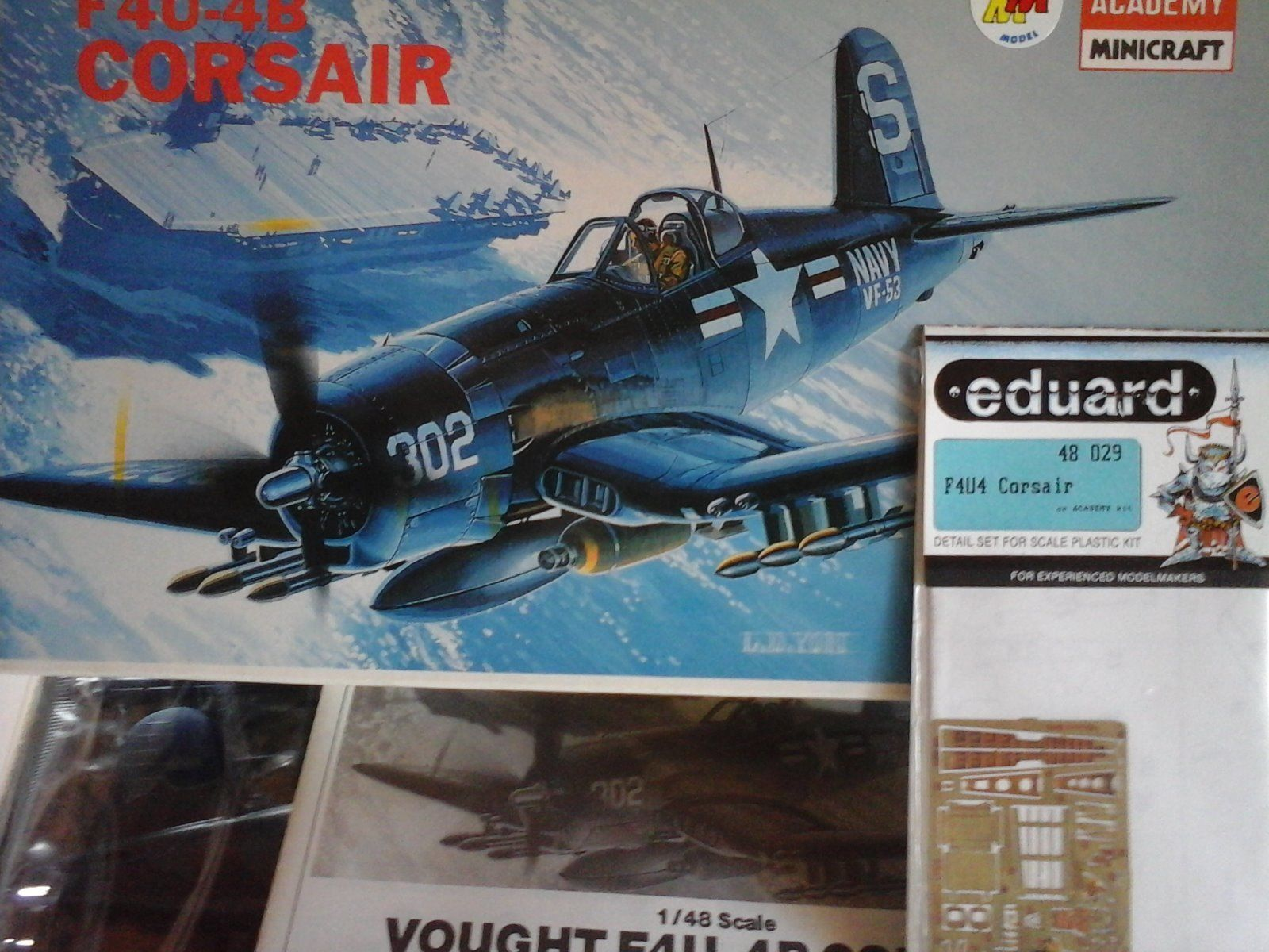 VOUGHT F4U-4B CORSAIR 1/48 SCALE ACADEMY MINICRAFT MODEL+PHOTOETCHED PARTS