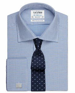 T-M-Lewin-Regular-Fit-camisa-de-cuadros-de-Diamante-Azul-Manguito-doble