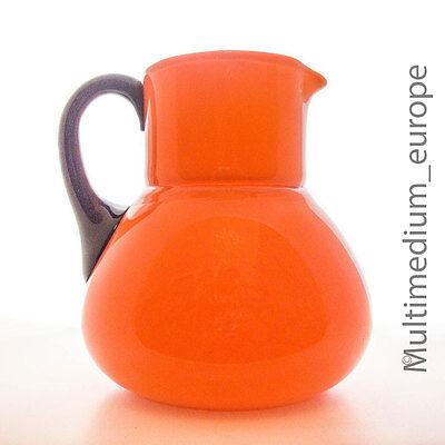Art Deco Lötz Powolny Tango Glas Krug Orange Schwarz Saft Glass Jug ???????????????????? HüBsch Und Bunt
