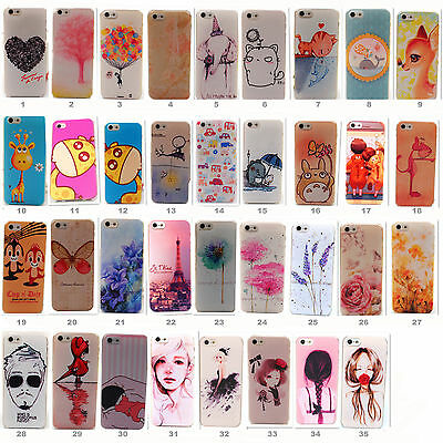 New Hard PC Cute Pattern Skin Case Cover Back Fitted for Apple iPhone 4S 5S 5G