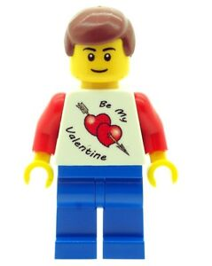 Custom Designed Minifigure Boy with Valentine T-Shirt Torso