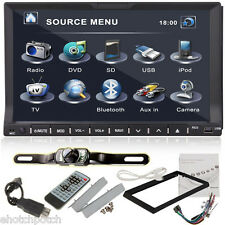 """Camera+Double 2 Din 7"""" In Dash Stereo Car DVD Player Bluetooth Radio iPod SD"""