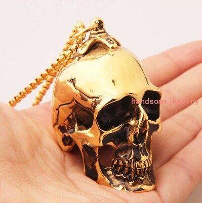 Heavy 316L Stainless Steel Gold Black Skull Biker Jewelry Men's Pendant Necklace