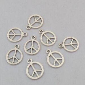 perles,fimo-bc113 Lot de 10 BRELOQUES peace and love COULEUR ARGENTÉ VIEILLI
