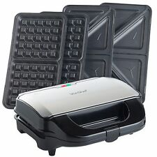 VonShef Sandwich Toaster Waffle Maker Iron Toastie Machine Toasty 2 in 1 Grill