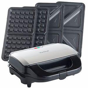 vonshef sandwich toaster waffle maker iron toastie machine. Black Bedroom Furniture Sets. Home Design Ideas