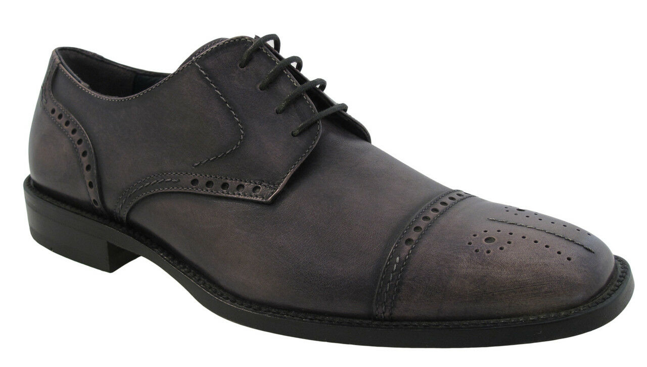 Redwood 3838 Italian Men's Oxford Lace up Cap Toe shoes Grey