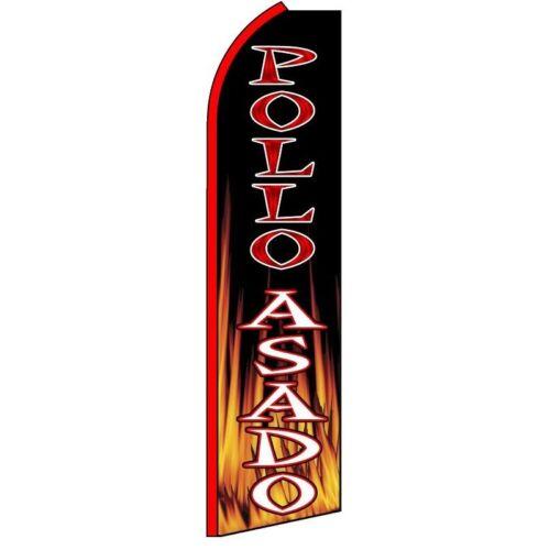 POLLO ASADO Half Curve PREMIUM WIDE Swooper Flag Spanish Food Spicy Flames