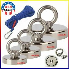 New Listing100 1000lbs Fishing Magnet Kit Strong Neodymium Pull Force Withrope Amp Carabiner Us