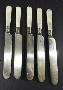 Five-Antique-Landers-Frary-amp-Clark-Mother-of-Pearl-amp-Sterling-Ferrule-Knives