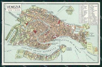Cartina Stradale Venezia.Venice City Map Postcard Rt7360 Ebay