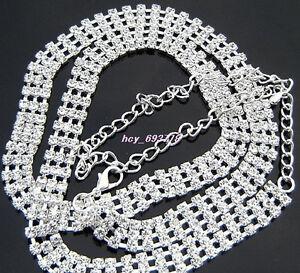 New-hot-3Row-Fashion-Long-Sliver-Crystal-Rhinestone-Chain-Belt-So-Sexy