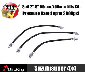 2 X Braided Extended Brake lines  fits Toyota Landcruiser 80 /& 105 Series