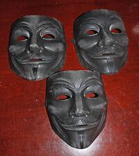 Matte gun Black Custom Painted Guy Fawkes battle Mask V for Vendetta Anonymous