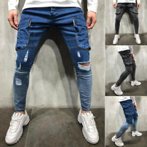 New-Men-Shinny-jeans-Frayed-Jeans-Slim-Fit-Pant-Casual-Pant-Denim-Pant-Rip-Jeans