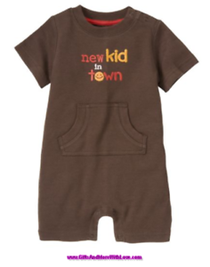Gymboree NWT Brown SPRING SMILES KID SHORT ROMPER OUTFIT 0 3 6 18 24 Months