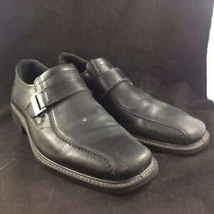 94ec40a94e Details about ECCO BLACK MENS SIZE 10 LEATHER DRESS SHOES SHOCK POINT METAL  BUCKLE WORN / USED