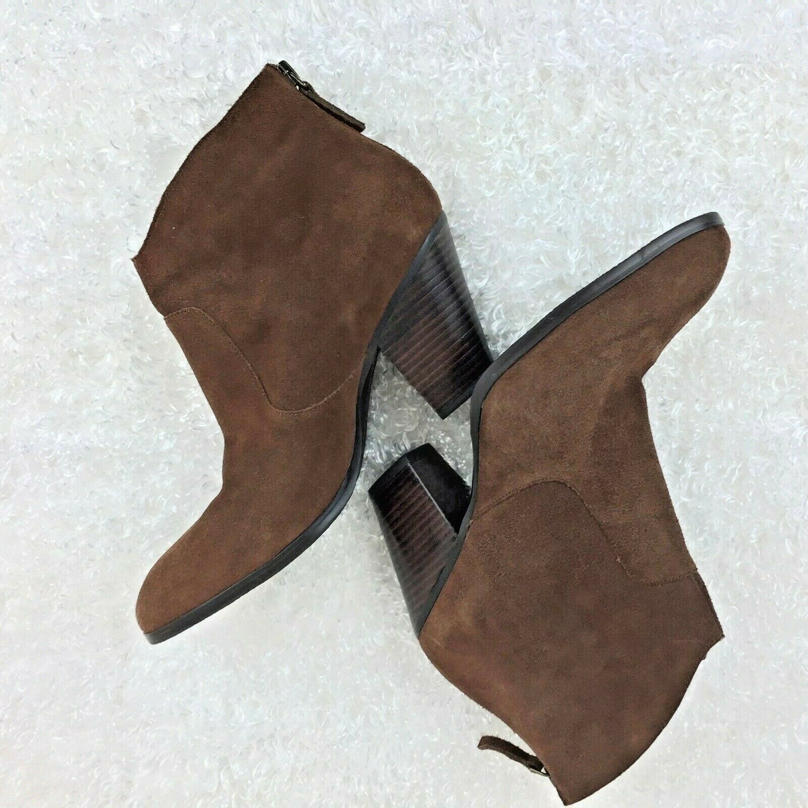 Tesori Womens Brown Leather Suede Shoe Boots Zipper Back 8.5M