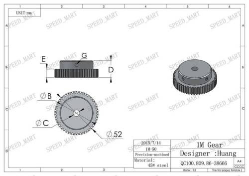 2 X 1M-50T 10mm Bore Hole 50 Teeth 50T Module 1 Motor Metal Gear Wheel Top Screw