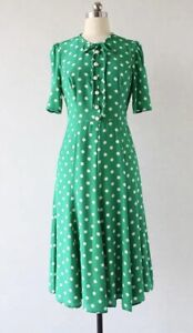 New-LK-Bennett-Polka-Dot-Green-Dress-Sz-UK-8-10-12-14