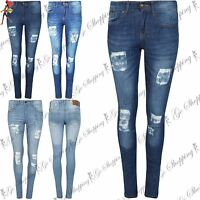 Ladies Womens Ripped Trouser Distressed Faded Destroyed Skinny Fit Denim Jeans
