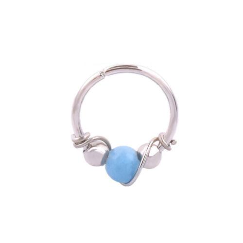 JN/_ BU/_ Women Beads Earring Lip Nose Ring Nostril Hoop Body Piercing Jewelry F