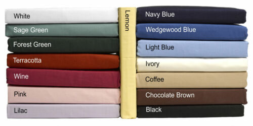 King NEW 100/% Cotton Fitted Bed Sheets in plain Dyed Colours Single Double