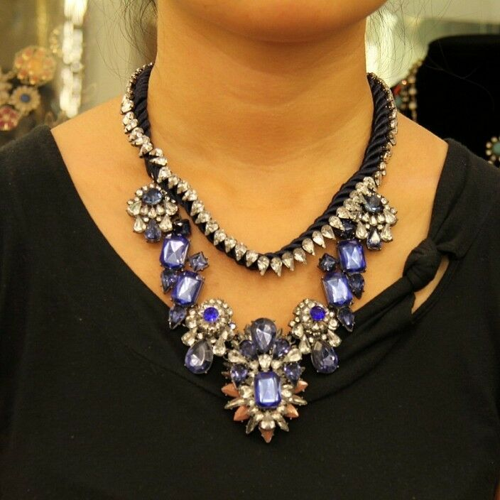 Collar Extravagante Dos Guarda Flor blue Moderno Cordón Original Noche SRK 2