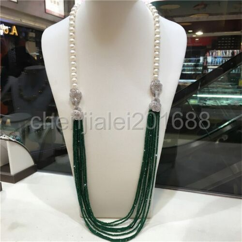 hot sell double use 9-10 mm white freshwater pearl green jade beads necklace